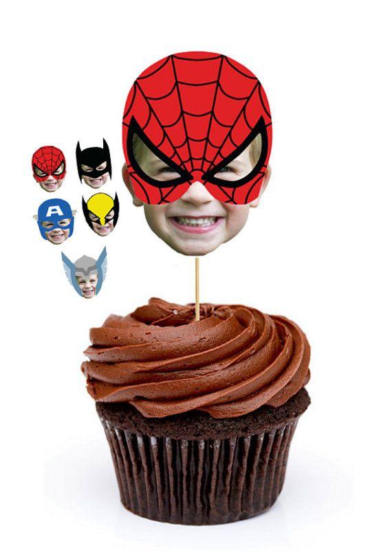 Custom Photo Superhero Cupcake Toppers, Superhero Party, Spiderman Cupcake, Batman Cupcake, Thor Cupcake