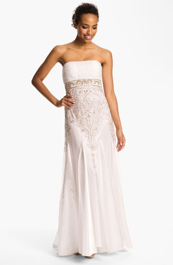 Sue Wong Bead Detail Strapless Chiffon Satin Gown Available At Nordstrom