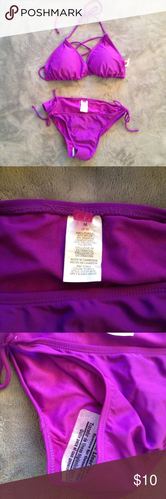 OP purple bikini set - NWOT OP purple bikini set - brand new and never worn but tags were removed. Set for $10 or individual pieces at $5 each. Medium bottom & XL top (15-17 teens or medium in women's). OP Swim Bikinis