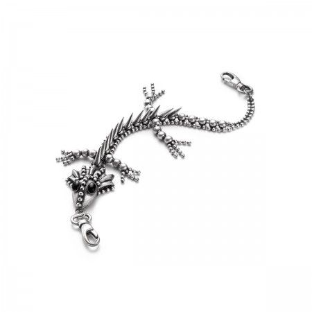 Lacrom - Woman - Little Dragon Unisex dragon-shaped accessory.  Handmade, in galvanized brass with an antique-effect.  Articulated. It can be used as an accessory for pants or as a keyring for belts.