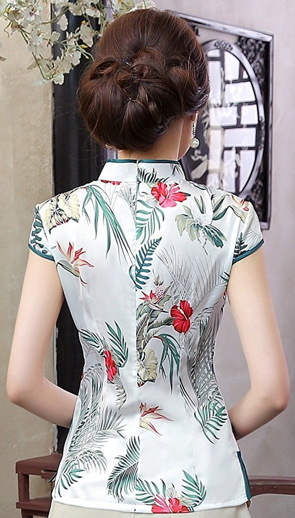 55a6f153a3cb5 Shanghai Story Women s Faux Silk Tang Suit Chinese Shirt Blouse Top at  Amazon Women s Clothing store