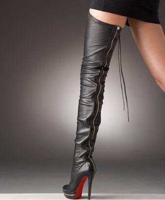 Back zipper elastic knee length boots platform ultra high heels ...
