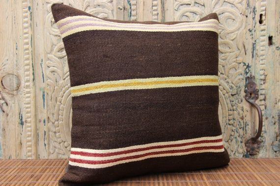 Handmade Kilim pillow cover 18x18 inches Square by stripepattern