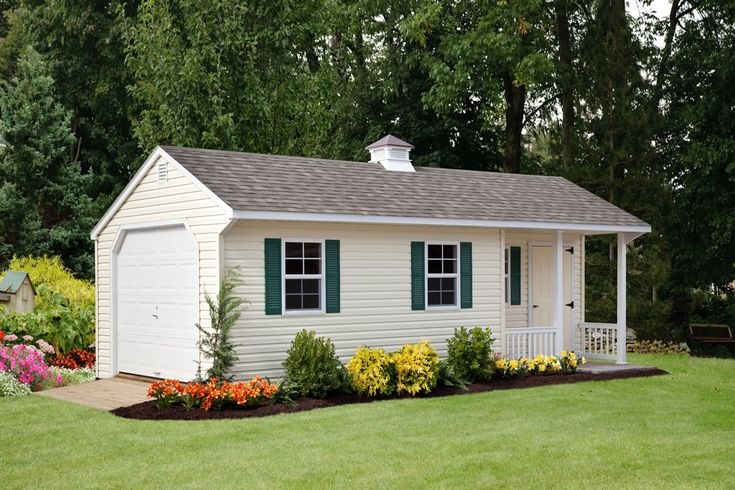 12x24 vinyl cottage shed with porch garage sheds for Garage with porch