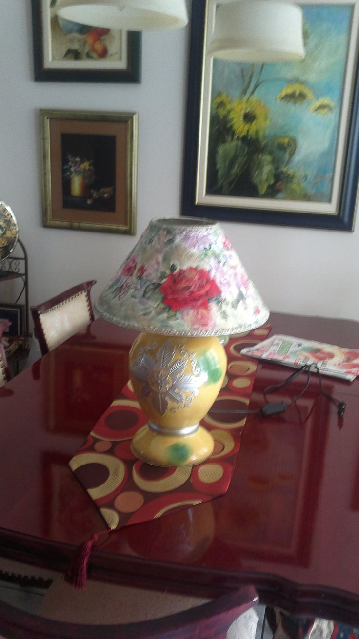 Restoration and decoupage lampshade 36