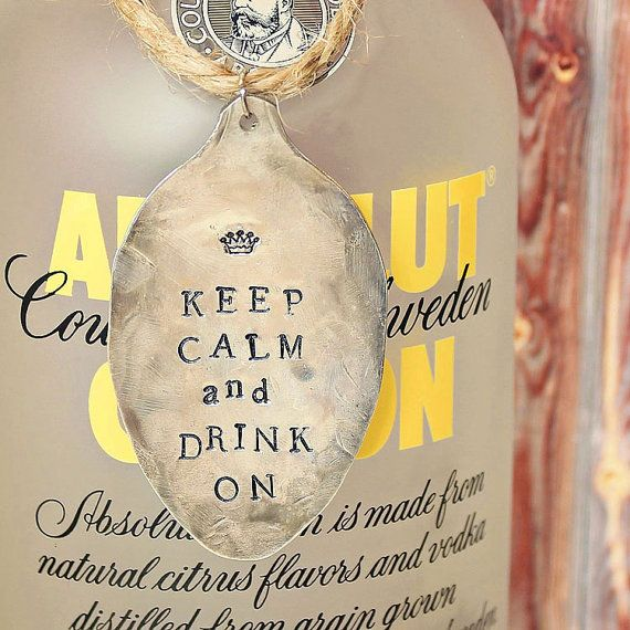 Keep Calm and Drink ON Wine Bottle Tag Charm Label   by EveOfJoy, $11.00