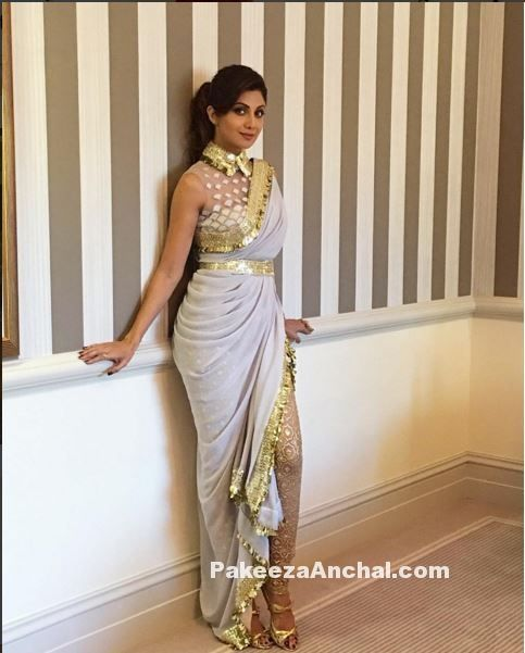 Shilpa Shetty in Dhoti Style Saree by Abu Jani Sandeep Khosla PakeezaAnchal.com