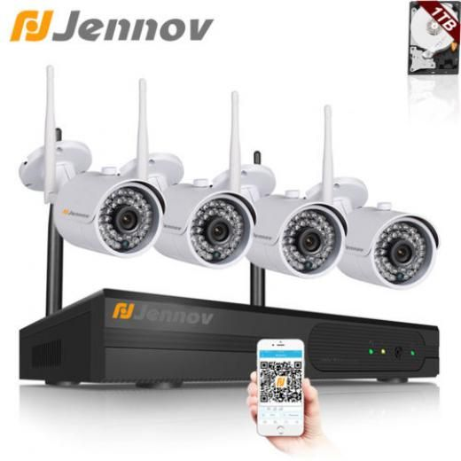Jennov 4ch 720p Wireless Nvr Cctv System Wifi Ip Security Camera Outdoor 1tb Hdd K4-a73wj10-v95-1 Bullet 4 720p/ 1.0megapixel Cctv/closed System-wireless Wireless,infrared,night Vision Hdmi,p2p,qr To Remote Acce Continuous Time Shcheduled