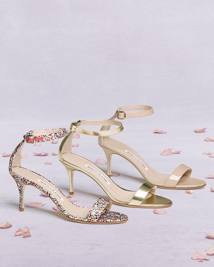 Manolo Blahnik Chaos Floral-Print 70mm Sandals