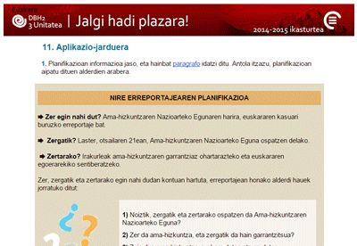Ikastaroa: Jalgi hadi plazara!, Gaia: 11 Aplikazio-jarduera