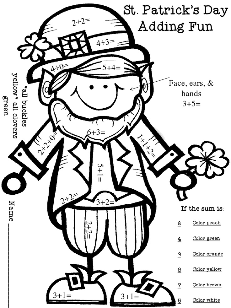 leprechaun coloring pages st patricks day appetizers | St. Patty's Day color by number addition | St. Patricks ...