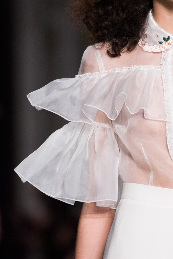 Delicate Transparency - sheer shirt with frill sleeves; romantic fashion details // Vivetta Fall 2016