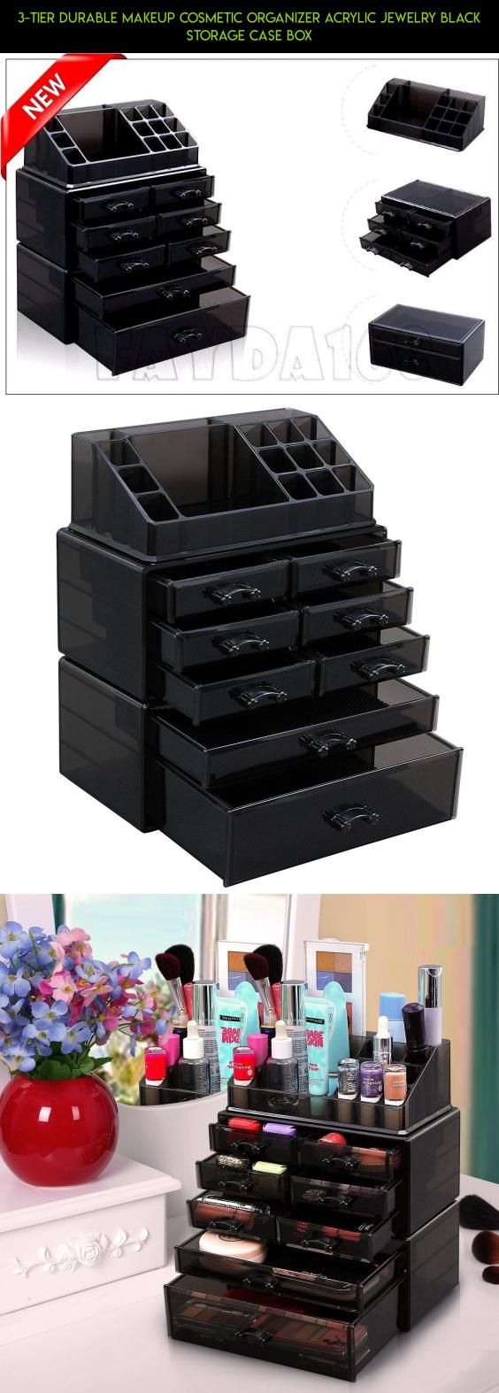 3-Tier Durable Makeup Cosmetic Organizer Acrylic Jewelry BLACK Storage Case Box #gadgets #camera #makeup #products #shopping #tech #parts #racing #storage #drone #technology #fpv #kit #plans