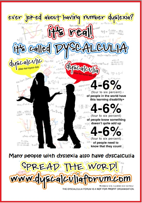 """How many of you also have dyscalculia (often called """"math dyslexia"""")?   I apologize for the term """"disability"""" in this poster. I believe we have learning differences, not disabilities."""