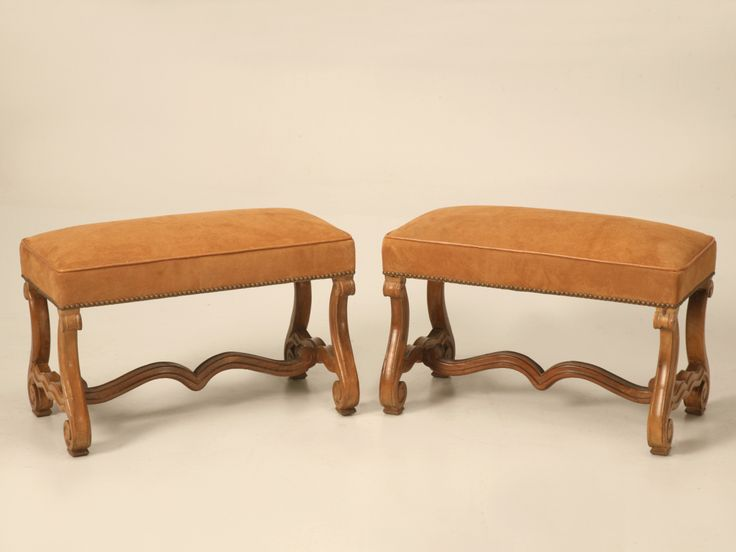 Magnificent Pair of Antique French Walnut Os de Mouton Benches