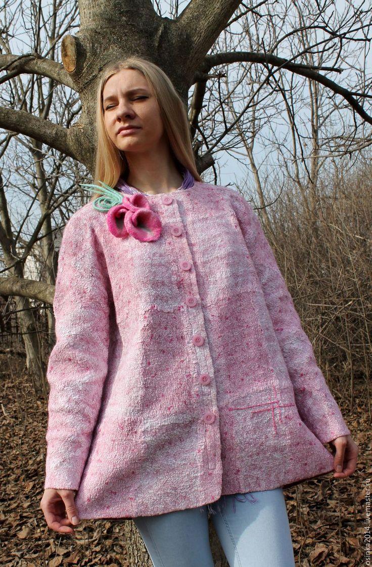 Купить Жакет Розовые Мечты валяние шерсть - розовый, авторская ручная работа, одежда для женщин