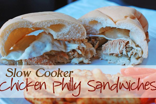 Chicken Philly Sandwiches in the Slow Cooker ~ via Eat At Home