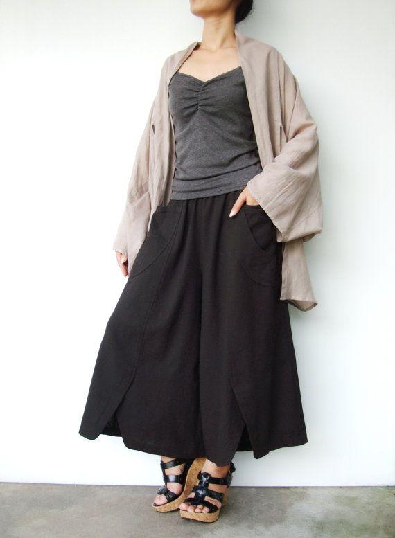 NO.41   Charcoal Cotton Wide Leg Pants Unique Pockets Capri Trousers on Etsy, $44.00