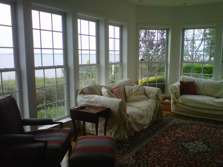 Inside living room....looking out to the bay!