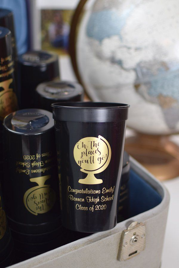 Oh The Places You'll Go. Such a cute idea for a graduation party. These custom graduation favor cups are a perfect size for outdoor grad parties and for serving iced drinks.  Great for decorating the drink table and for sending guests home with party souvenirs. Made in the USA.