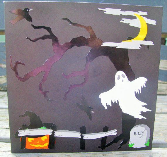 Graveyard  handmade card FWB halloween card by RogueKissedCraft