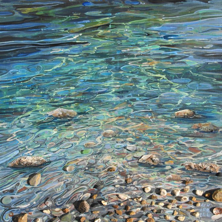 PRICE £395 MEDIUMAcrylic / shingle/Seawashed Glass DESCRIPTION 50 x50 cm Plus frame Gentle Current is an abstract acrylic painting of water swirling around pebbles in the shallow water, bringing it to life , I have used Shingle and sea glass allowing the natural daylight through out the day to cast shadows over the textures and …