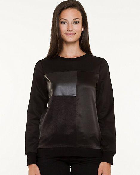 Chandail à manches longues en similicuir et tricot