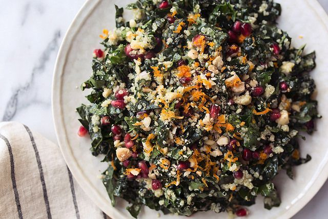 Kale and Quinoa Winter Chopped Salad with Pomegranate and Marcona ...