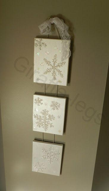 Dimensional Snowflakes on Canvas. Or Snowmen.