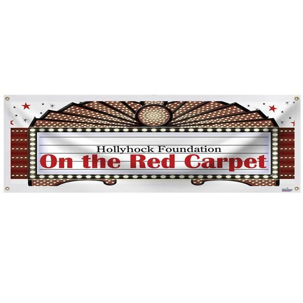 Our Marquis Banner Is A Must Have For Any Hollywood Themed Party Or Event Each Marquis Personalized Banner I Personalized Banners Hollywood Party Theme Banner