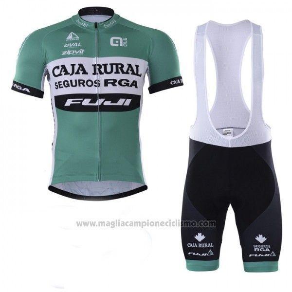 2018 Abbigliamento Ciclismo Caja Rural Verde Bianco Manica Corta e  Salopette Bicycling c1fcc8e20