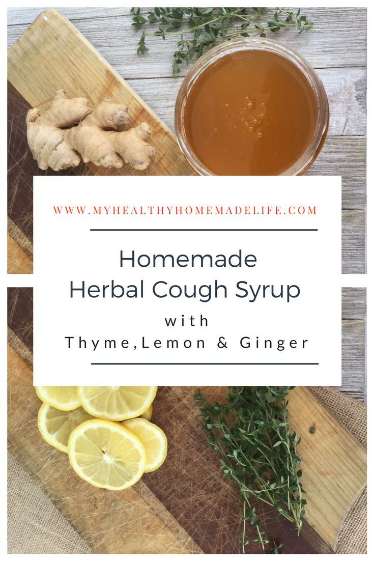 Homemade Herbal Cough Syrup with Thyme, Lemon & Ginger