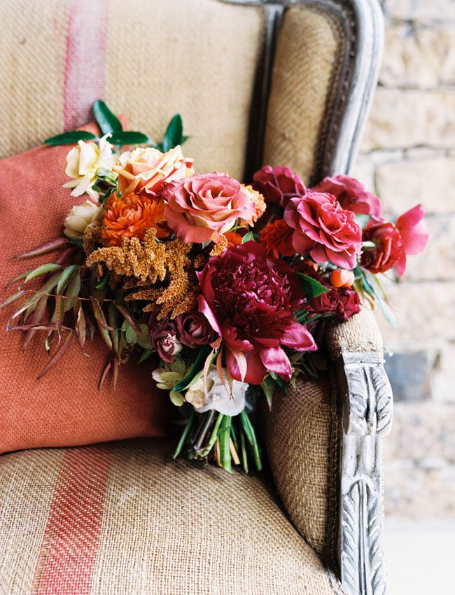 Fall Bridal Bouquet in rich reds and coppers.  #bridalbouquet #fallwedding #autumnwedding