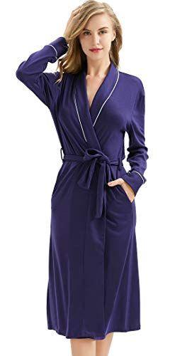 6117930eea9ca Long Cotton Robes for Women, Lightweight Kimono Spa Soft Knit V-Neck  Bathrobe Loungewear Sleepwear Nightwear with Pockets in 2019   Women's  NightWear ...