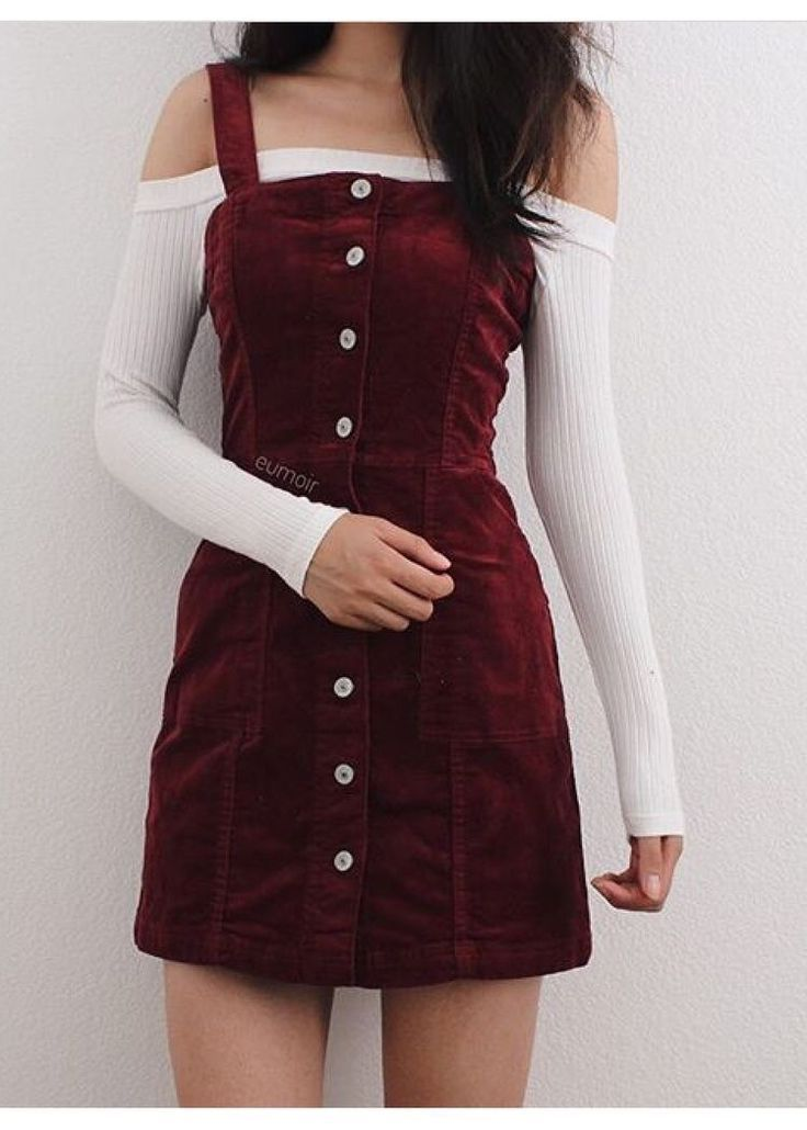 7075a5c0e338 burgundy button up dress with a white off the shoulder sweater. Visit Daily  Dress Me at dailydressme.com for more inspiration women s fashion 2018