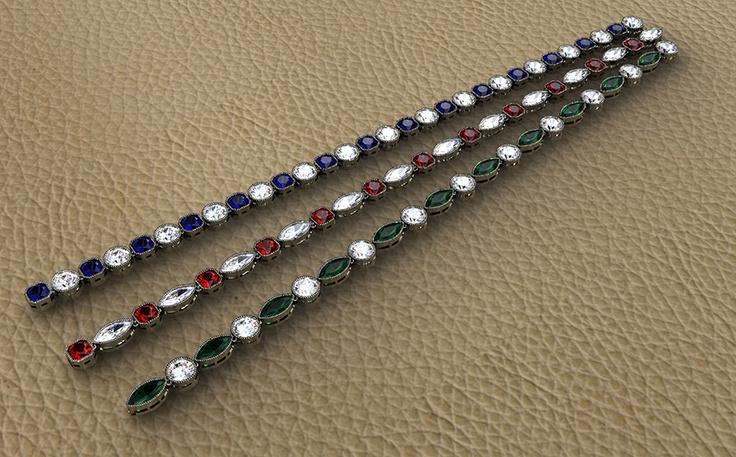 PULSERA RIVIERE Pulseras articuladas realizadas en oro blanco. Las gemas han sido talladas y combinadas en diferentes formas. Combinando brillantes, esmeraldas, zafiros y rubíes.