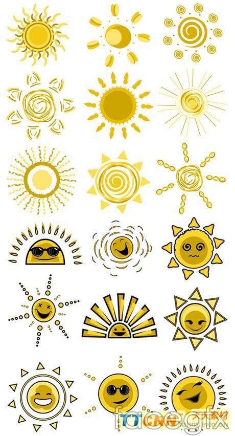 Funny Sun face design vector graphics