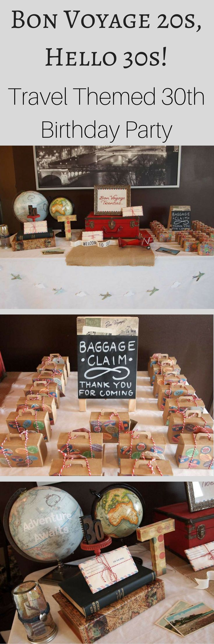 Creative 30th Birthday Party idea! Say bon voyage to your 20s and hello to your 30s with this travel themed birthday party. Full of fun ideas for travel themed party decor, party favors & more.