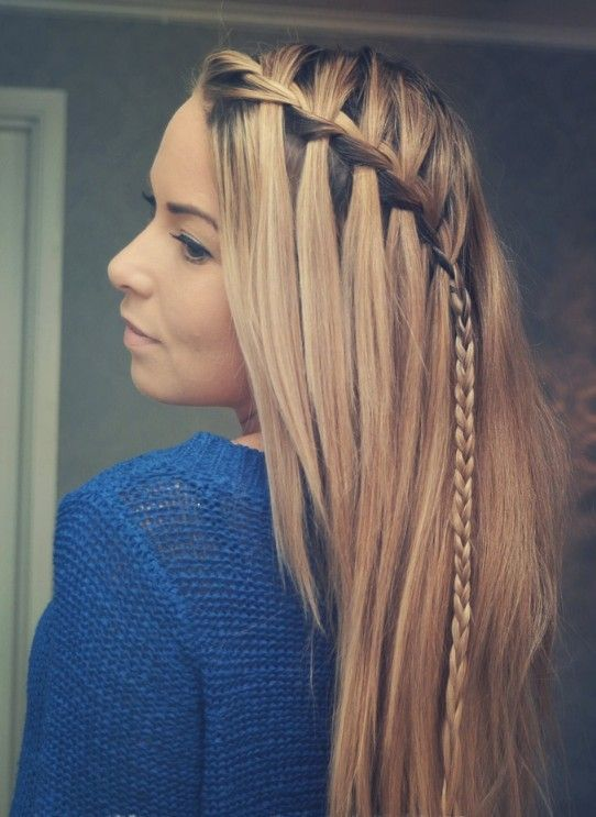 cute hairstyles for long hair | picture of braided choppy waterfall hairstyle best hairstyles for ...