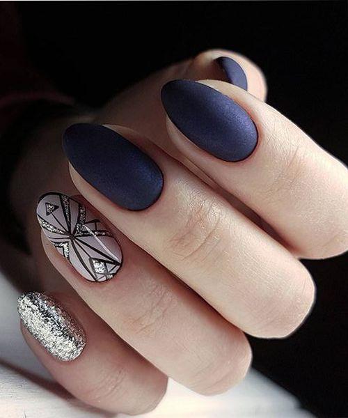 26 Strikingly Gorgeous Blue and Glitter Wedding Nail Art Designs
