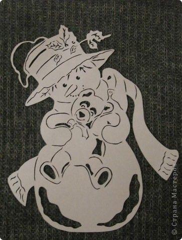 Картина панно рисунок Новый год Вырезание Снеговик с мишкой Бумага фото 2