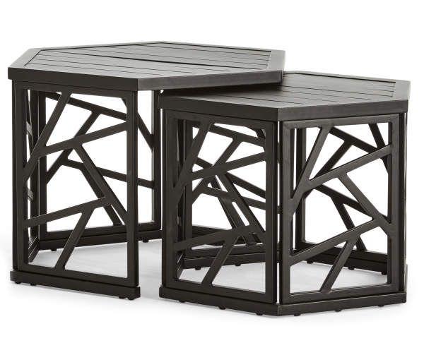 Real Living Verrado Black Nesting Hexagon Tables, 2-Pack ... on Wilson & Fisher Verrado Black Cushioned Patio Sofa id=77320