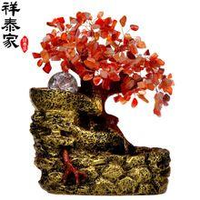 Sorte feng shui fonte de água roda grande decoração de cristal da árvore de bonsai sorte transbordados acessórios para de presente(China (Mainland))