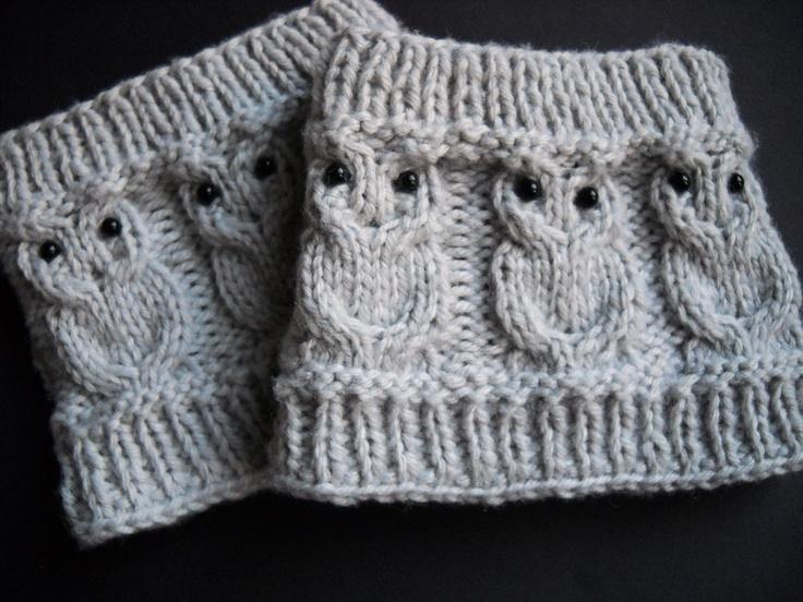 Knit Boot Cuffs Cream Owl Boot Socks Boot Topper Leg Boot Toppers