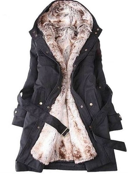 Fashionable Slim Patchwork Lapel Overcoat Overcoats from fashionmia.com