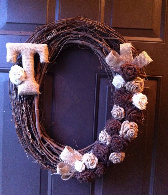 Grapevine Burlap Wreath for Front Door Monogram Initial on Etsy, $35.00