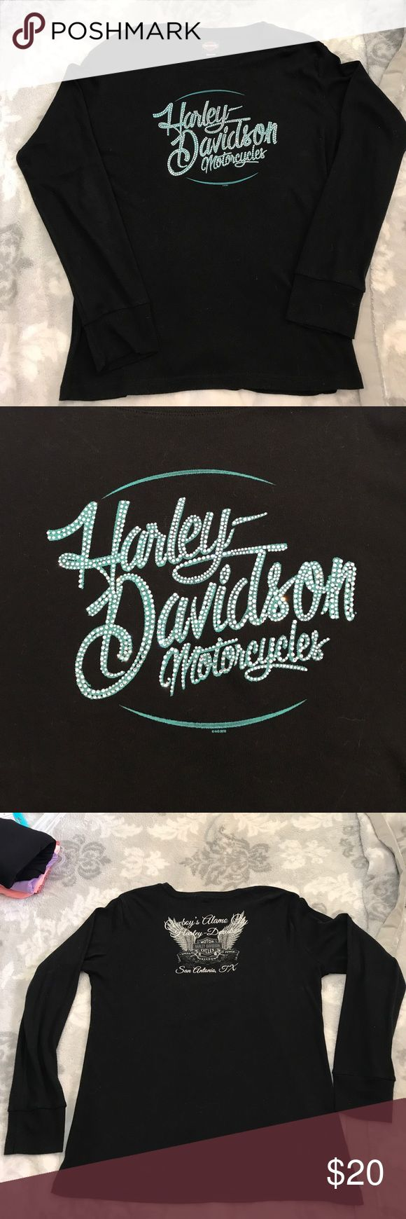 Harley Davidson Rhinestone Sweater Top Cowboys Alamo City San Antonio, TX on the back Harley-Davidson Tops Tees - Long Sleeve