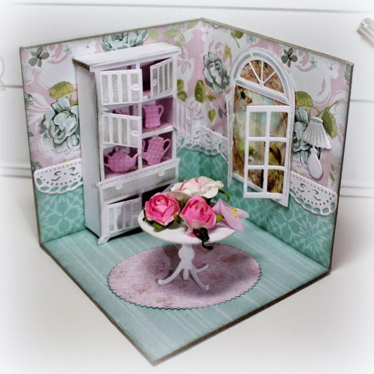 Huiskamertje gemaakt met de Love Home stencils kast 6002/0338, tafel 6002/0339 en serviesje 6002/0340