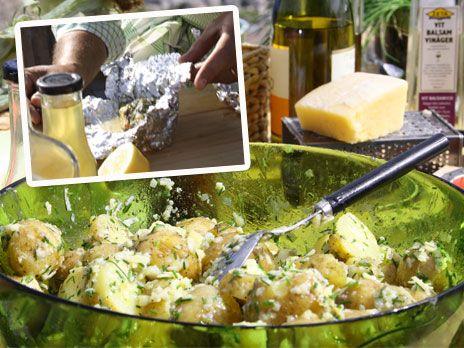 Ernsts grillade lax med potatissallad på färskpotatis och västerbottensost | Recept.nu