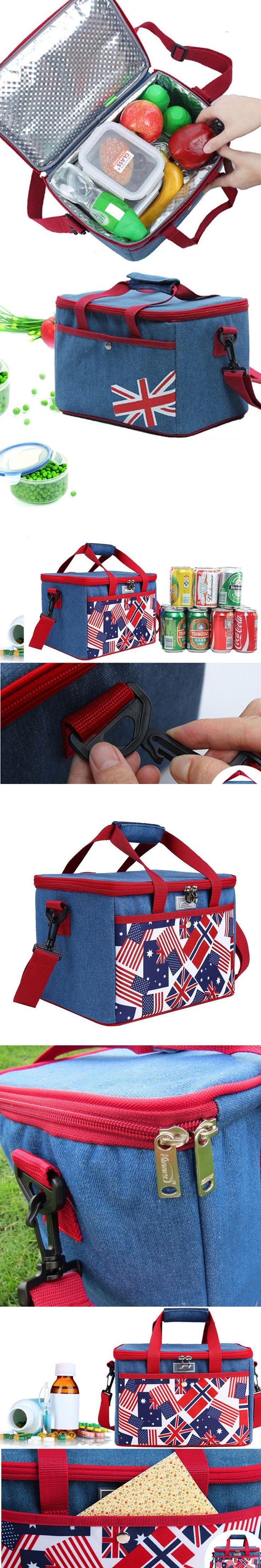 2015 Hot canvas Picnic Basket Zip Travel shoulder Cooler Bag ice lunch bags lunch cooler bag picnic bag free shipping